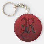 Monograma color de rosa gótico R Llaveros Personalizados