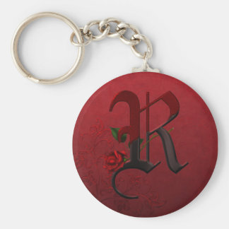 Monograma color de rosa gótico R Llavero Redondo Tipo Pin
