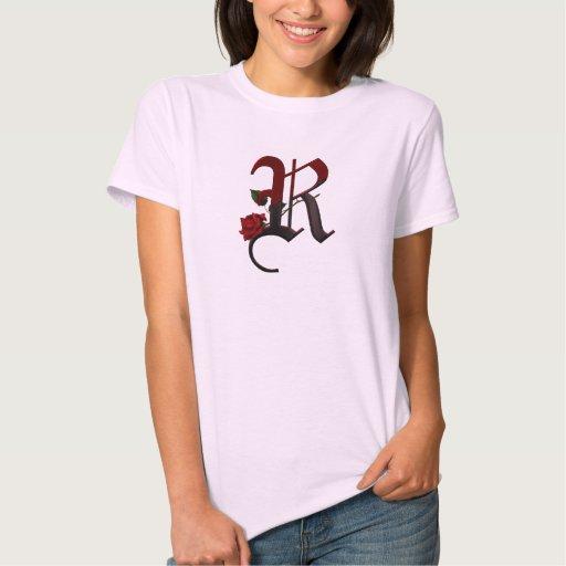Monograma color de rosa gótico R Playera