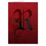 Monograma color de rosa gótico R Tarjeta