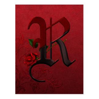 Monograma color de rosa gótico R Postal