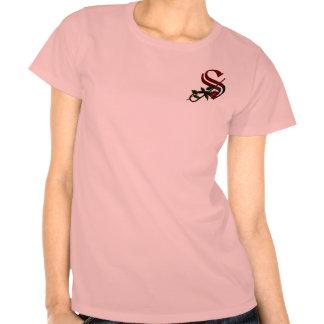 Monograma color de rosa gótico S Camisetas