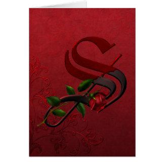 Monograma color de rosa gótico S Tarjeta De Felicitación