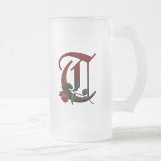 Monograma color de rosa gótico T Taza De Café