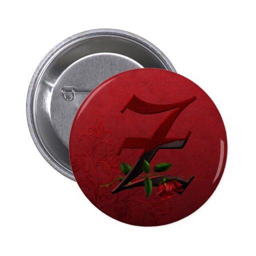 Monograma color de rosa gótico Z Pins