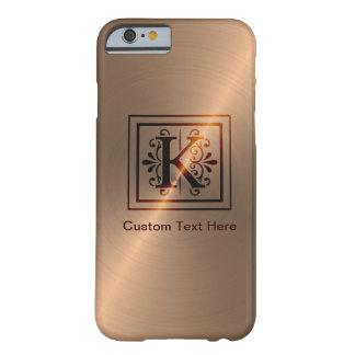 Monograma color de rosa K del oro Funda De iPhone 6 Barely There