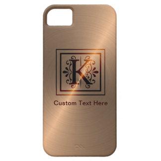 Monograma color de rosa K del oro iPhone 5 Case-Mate Protector