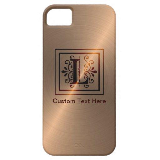 Monograma color de rosa L del oro iPhone 5 Fundas
