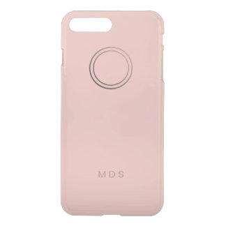 Monograma color de rosa rosado personalizado fundas para iPhone 7 plus