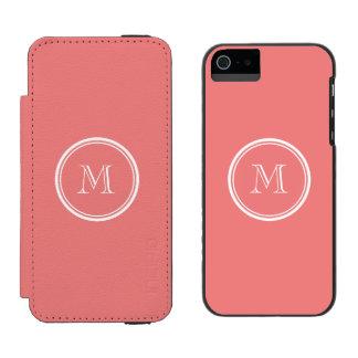 Monograma coloreado parte alta coralina ligera funda billetera para iPhone 5 watson