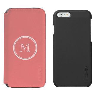 Monograma coloreado parte alta coralina ligera funda billetera para iPhone 6 watson