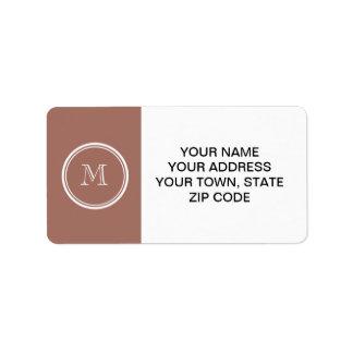 Monograma coloreado parte alta de bronce etiquetas de dirección
