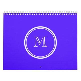 Monograma coloreado parte alta púrpura de Han Calendario De Pared