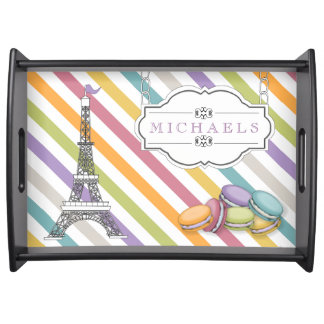 Monograma colorido de la torre Eiffel de París Mac Bandejas
