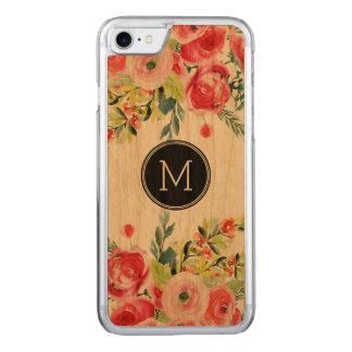 Monograma colorido de las flores de las acuarelas funda para iPhone 7