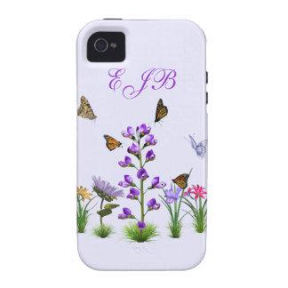 Monograma colorido del personalizable de la fantas Case-Mate iPhone 4 carcasa