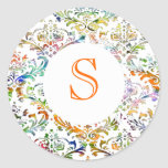 Monograma colorido del personalizable del damasco pegatinas redondas