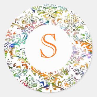 Monograma colorido del personalizable del damasco pegatina redonda