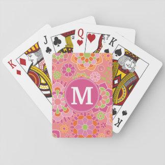 Monograma colorido del personalizado del estampado cartas de póquer