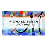 Monograma colorido del personalizado del mosaico tarjetas de visita