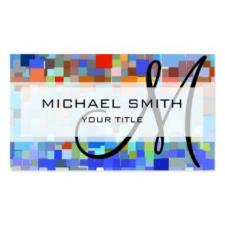 Monograma colorido del personalizado del mosaico tarjeta de visita