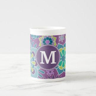 Monograma colorido enrrollado del personalizado de taza de porcelana