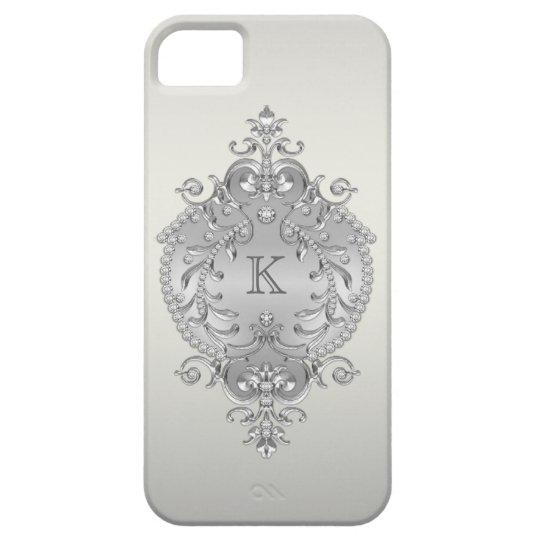 Monograma con clase, adornado de los diamantes funda para iPhone SE/5/5s