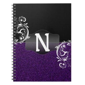 Monograma con clase del Flourish del falso brillo Spiral Notebooks