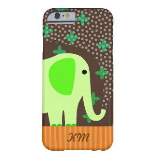 Monograma con el elefante funda de iPhone 6 barely there