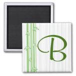 Monograma con el fondo de bambú - letra B Imanes
