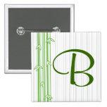 Monograma con el fondo de bambú - letra B Pin