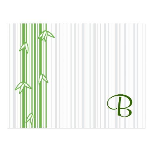 Monograma con el fondo de bambú - letra B Tarjetas Postales