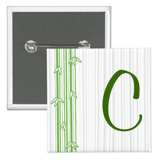 Monograma con el fondo de bambú - letra C Pin