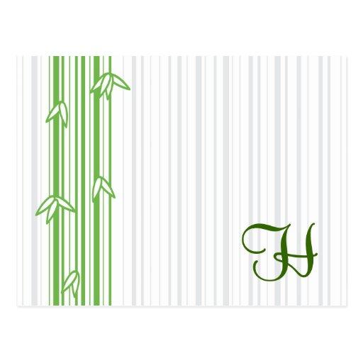 Monograma con el fondo de bambú - letra H Postal