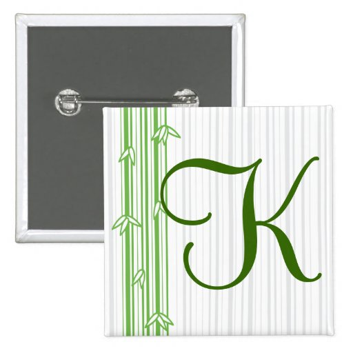 Monograma con el fondo de bambú - letra K Pin
