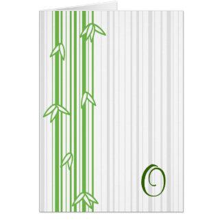 Monograma con el fondo de bambú - letra O Tarjeta De Felicitación