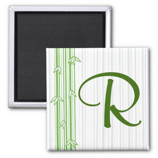 Monograma con el fondo de bambú - letra R Imán Cuadrado