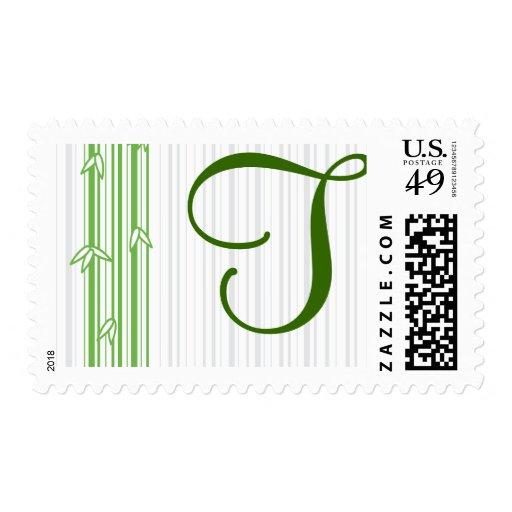 Monograma con el fondo de bambú - letra T Franqueo