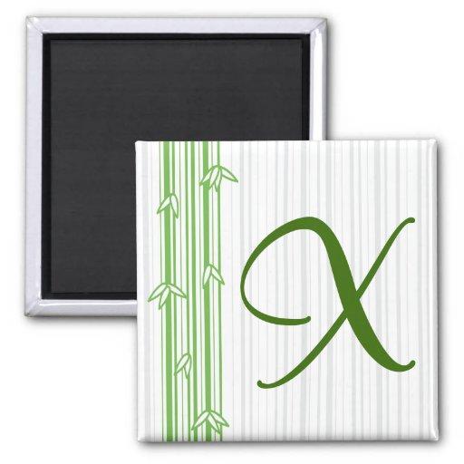 Monograma con el fondo de bambú - letra X Imán Cuadrado