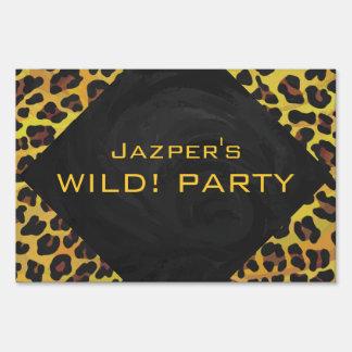 Monograma con el leopardo Brown y el amarillo Cartel