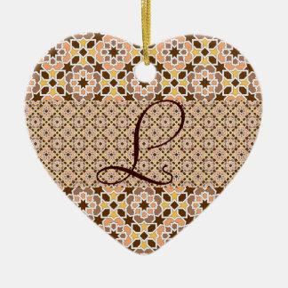 Monograma con mosaico de azulejos de Marruecos Adorno De Navidad