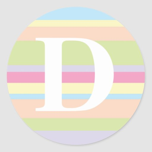 Monograma con un fondo rayado colorido - D Pegatina Redonda