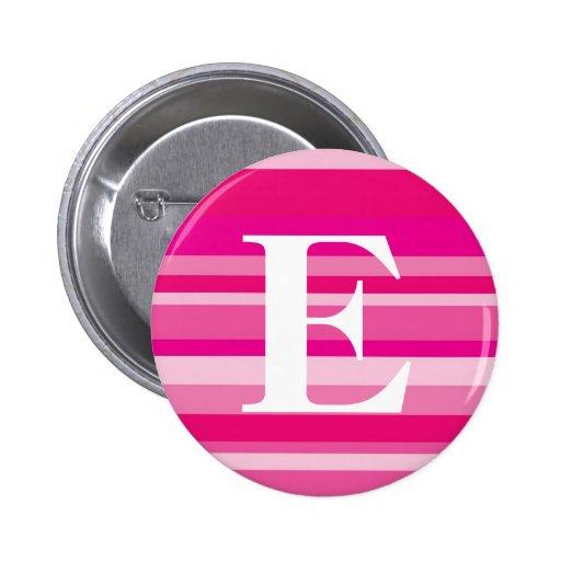 Monograma con un fondo rayado colorido - E Pins