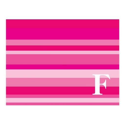 Monograma con un fondo rayado colorido - F Tarjetas Postales