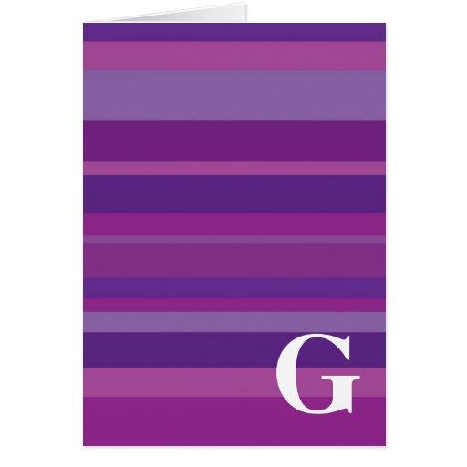 Monograma con un fondo rayado colorido - G Tarjeta De Felicitación