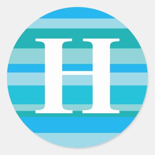 Monograma con un fondo rayado colorido - H Pegatina Redonda