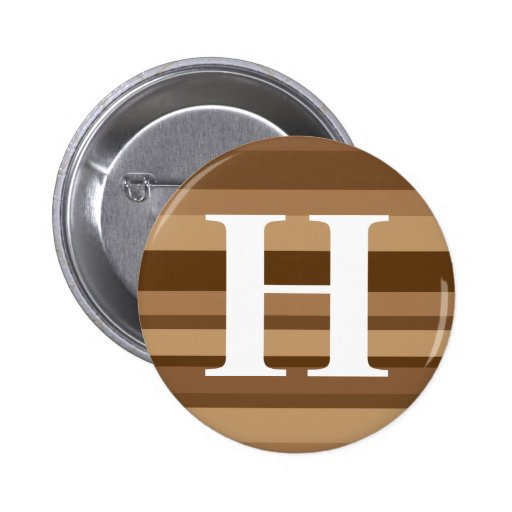 Monograma con un fondo rayado colorido - H Pin Redondo 5 Cm