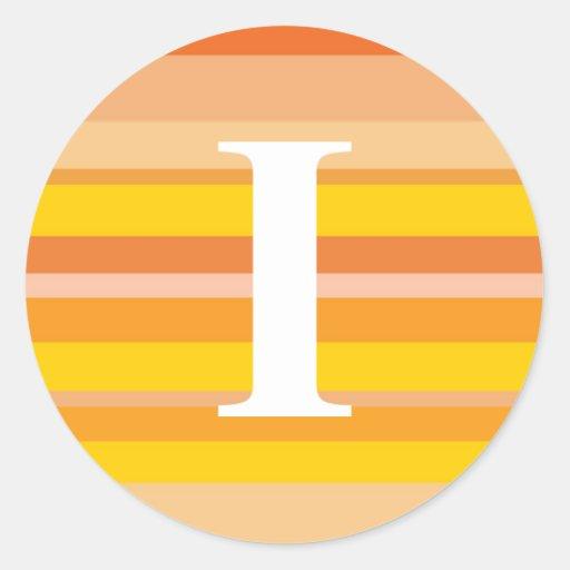 Monograma con un fondo rayado colorido - I Etiquetas Redondas