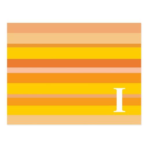 Monograma con un fondo rayado colorido - I Postales
