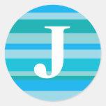 Monograma con un fondo rayado colorido - J Etiqueta Redonda